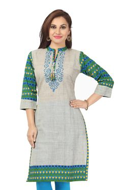 Product Name Grey grace long cotton tunic with printed design. Alignment of two types of cotton fabrics, a basic grey fabric and a bright green hue fabric with blue and yellow print design. While grey