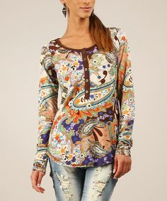 Look at this Chocolate & Blue Paisley Henley on #zulily today!