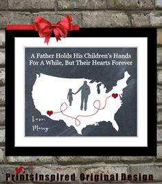 Gift For Dad Birthday Distance Map Hearts Father By Printsinspired 2399 Mother Of The Groom