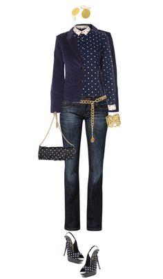 """Polka dot Blue"" by angela-windsor on Polyvore"