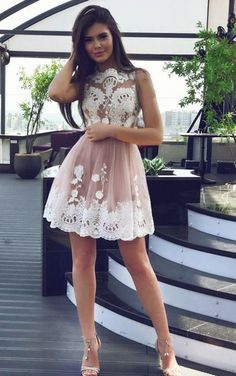White Homecoming Dresses, Short Prom Dresses, High Fashion A-Line Bateau Tulle Short Homecoming Dress With White Lace,Lace Appliques Homecoming Gown Wite Prom Dresses, White Homecoming Dresses Short, Pretty Prom Dresses, A Line Prom Dresses, Beautiful Dresses, Dress Prom, Mini Dresses, Party Dress, Prom Gowns