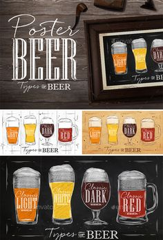 Beer Type Posters  #illustration #light #old #pint #poster #pub #red #restaurant #$9