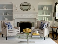 Built-in shelving is a great solution to your living room storage problems. These are beautiful living room built-ins to consider. Fireplace Shelves, White Fireplace, Living Room With Fireplace, Fireplace Design, Custom Fireplace, Fireplace Mantel, Living Room Built Ins, Living Room Storage, Painted Bookshelves