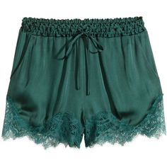 H&M Satin shorts with lace ($29) ❤ liked on Polyvore featuring shorts, bottoms, h&m, short, petrol, elastic waist shorts, elastic waistband shorts, lace shorts and satin shorts