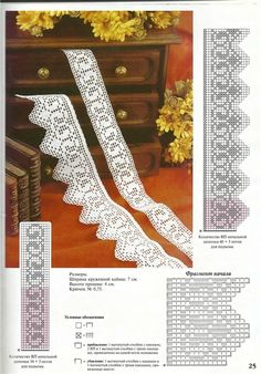 Crochet Edging And Borders Filet crochet edging and insertion Crochet Boarders, Crochet Lace Edging, Crochet Diagram, Crochet Trim, Love Crochet, Vintage Crochet, Easy Crochet, Crochet Chart, Filet Crochet