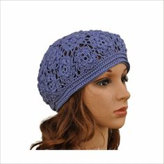 Blue cotton hat Womens hats summer Crochet Beret Pattern, Tunic Pattern, Crochet Hat For Women, Crochet Top, Knitted Hats, Crochet Hats, Summer Hats For Women, Cotton Hat, Sweater Shop