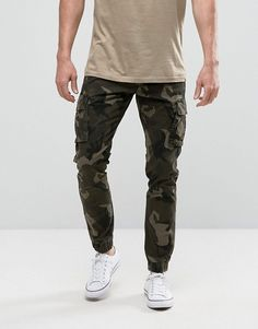 Only & Sons Cuffed Cargo Pants In Camo