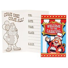 "Under The Big Top Invitations. These invitations are a circus of fun! Featuring the phrase ""Welcome to the Carnival!"", they're perfect! 8 invitations per packag"