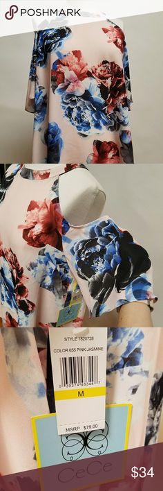 NWT! CeCe by Cynthia Steffe Floral top M Blush top with floral print in shades of blue and rust. Double button keyhole back closure CeCe Tops