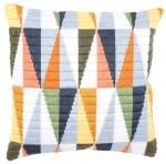 Triangles Long Stitch Cushion Front