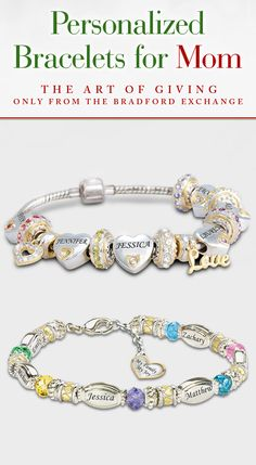 Create a gift for your mother with beautiful birthstones, family name engravings and more with one of our personalized bracelets for Mom.
