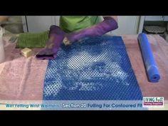 Wet Felting Wrist Warmers Part 2 - Free Tutorial - YouTube
