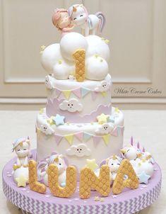 New Birthday Cake Girls Baby 26 Ideas Baby Girl Birthday Cake, Baby Birthday Cakes, First Birthday Cakes, Birthday Ideas, Fondant Cakes, Cupcake Cakes, Fondant Girl, Winter Torte, Rodjendanske Torte