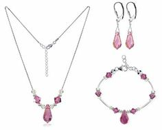 "Sterling Silver Pink Crystal Bracelet Earrings with 18 inch Necklace Jewelry Set Made with Swarovski Elements Gem Avenue. $50.99. Made with Pink Swarovski Elements. Gem Avenue SKU # SCST071. Necklace and Bracelet is Lobster Clasp. Set with Necklace of size 16"" 18"" 20"" 22"" 24"". Made in .925 Sterling Silver. Save 53% Off!"