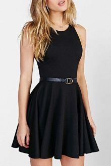 Jewel Neck Black Backless Sleeveless Dress