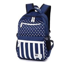 KISS GOLD(TM) Canvas Dots Pattern Schoolbag Travel Backpack Bookbag Laptop Bag ** See this great product.