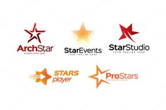 5 Premium Star Logos by LogoLabs on Creative Market