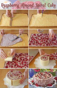 Raspberry Almond Spiral Cake - SugarHero!