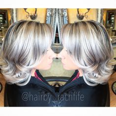 Silver blonde granny hair trend is here! Who loves this take on platinum blonde?! Who knew grey hair would be in? Color created using redken shades eq gloss. Hair by Rachel fife at Sara Fraraccio salon