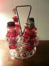 Vintage King's Crown Ruby Thumbprint Cruet Set Salt Pepper Oil Vinegar Flash Red