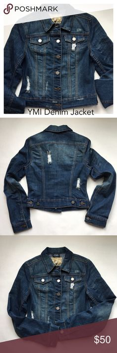 YMI Cropped Denim Jacket Distressed cropped fitted denim jacket. Sleeve: 25.6, Length: 18.5, Chest: 18. (Apr17) YMI Jackets & Coats Jean Jackets