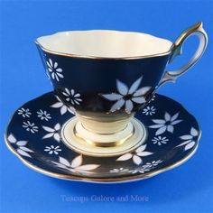Royal Albert White Flowers on Black Tea Cup and Saucer Set | eBay