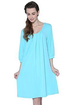 46ef792cea Suntasty Women s Cotton Nightgown 3 4 Sleeve Sleepshirt Knit Chemise  Sleepwear (Blue