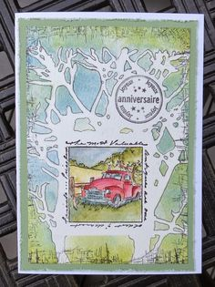 Art Impressions: Ai Windows to the World: Antiques Window ... handmade masculine card with truck