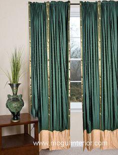 Handmade Olive Green Sheer Sari 84 Inch Rod Pocket Curtain Panels (India)    Green, Olives And Home