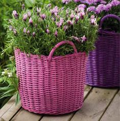 Dollar-store wicker baskets in various shapes and sizes create an instant, colorful outdoor container garden. Produce uniformity in mismatched baskets by spray-painting them in shades of pink, lavender, and lilac, then filling them with flowers in complementary colors.