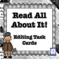 Editing Task Cards Freebie - What a great freebee. I love task cards and so do my students. Can never have enough editing practicing. I like how multiple skills are included. capitalization, punctuation, etc. 10 pages 4th Grade Writing, 2nd Grade Reading, Guided Reading, Fourth Grade, Spelling Activities, Language Activities, Upper Elementary, Elementary Teaching, Teacher Freebies