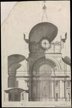 [Sección de la capilla del Palacio Real de Madrid]. Sacchetti, Giovanni Battista 1690-1764 — Dibujo — 1753-1755