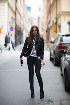 Caroline Blomst - Zebra tee from IRO, jacket from Rika/Skindeep.se, jeans from Aninebing.com, bag from Chanel and boots from Givenchy.