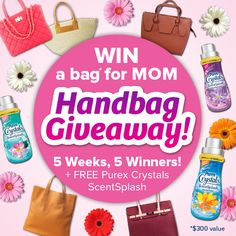 WIN a beautiful designer handbag of your choice & a bottle of Purex Crystals ScentSplash! http://go.purex.com/PNyyu