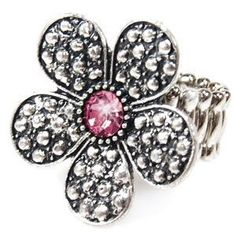 Pink Flower Stretchy Band Ring $5