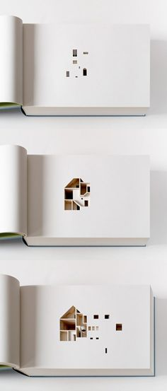 This is an architecture book with more descriptive power than words alone could possible achieve.  The book consists of 454 pages each laser-cut to produce a section representing 2.2cm of the artists actual house in Copenhagen, Denmark.