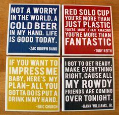 Country music lyrics coasters.