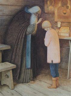 Из серии Житие прп. Сергия (Благословение отрока Варфоломея на обретение грамоты)