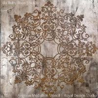 Decorate and stencil an entire ceiling in your dining room, living room, or entry way with the Avignon Ceiling Stencils Medallion includes a of pattern to rotate. Take advantage of your room's fif Stencil Patterns, Stencil Designs, Ceiling Decor, Ceiling Design, Ceiling Ideas, Tuscan Style Homes, Royal Design, Design Design, House Design