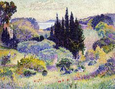Cypress, April, Henri-Edmond Cross, a French painter and printmaker, most acclaimed as a master or Neo-Impressionism. Henri Matisse, Georges Seurat, Spring Pictures, Art Story, Spring Landscape, Camille Pissarro, Post Impressionism, Manet, Art Moderne
