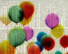 Balloons printed on dictionary page.