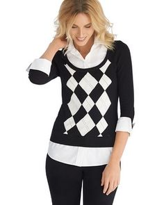 This two-in-one look makes styling simple— faux button front blouse emerges beneath a stretch v-neck argyle sweater for a complete look in one top.