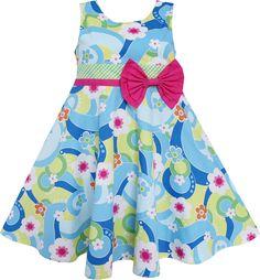 Girls Dress Ocean Blue Flower Birthday Party Children Clothes 6-12 NWT #SunnyFashion #Everyday