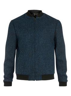 Harris Tweed Blue Pure Wool Bomber Jacket