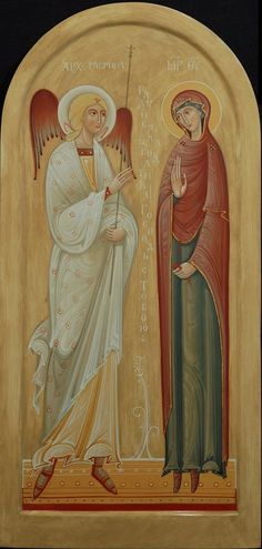 It was imperative for artists to depict Gabriel and Mary with some boundary between them, so nobody would think any funny business happened between the virgin and the angel. The Still Point — Annunciation icon by Olga Shalamova Byzantine Icons, Byzantine Art, Early Christian, Christian Art, Religious Icons, Religious Art, Gospel Of Luke, Photography Illustration, Blessed Virgin Mary