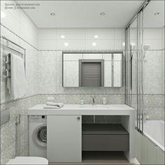 Small bathroom shower washing machine ideas for 2019 Laundry Bathroom Combo, Bathroom Layout, White Bathroom, Bathroom Interior Design, Bathroom Storage, Modern Bathroom, Small Bathroom, Master Bathroom, Bathroom Cabinets