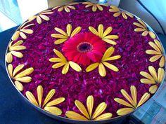 for festival Rangoli Designs Flower, Rangoli Ideas, Rangoli Designs Diwali, Flower Rangoli, Flower Designs, Diwali Decorations, Indian Wedding Decorations, Festival Decorations, Flower Decorations