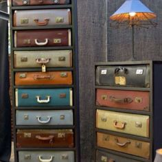 Up cycle old suitcases into dresser drawers