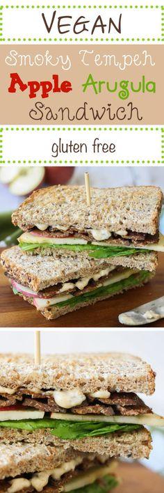 Smoky tempeh, apple and arugula sandwich | www.veggiesdontbite.com | #vegan #plantbased #glutenfree #fall via @veggiesdontbite