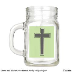 Green and Black Cross Mason Jar
